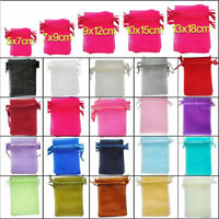 5 Sizes Organza Wedding Party Xmas Jewelry Favour Gift Bag Pouch Decor 25/100pcs