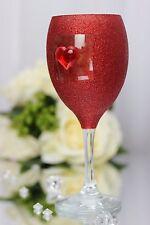 Red glitter with heart wine glass. Wedding, Valentines Day, Birthday Gift