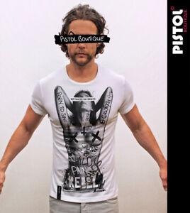 Pistol Boutique Men's Fitted White Crew Neck NAKED TATTOO GRAFFITI GIRL T-shirt