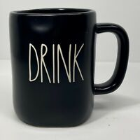 """Rae Dunn Spring/Summer LL """"DRINK"""" All Black Mug/White Font NEW"""