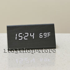 Wooden LED Clock w/Temperature display Triple intelligent alarm Sound Control