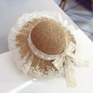 Fashion Children Summer Sweet Lace Straw Hat Baby Girl's Spring Wide Brim Sunhat