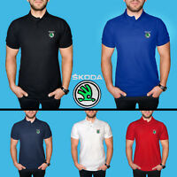 Skoda Polo T Shirt COTTON EMBROIDERED Auto Car Logo Mens Casual Tee Short Sleeve