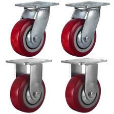 4 Pack 5 Heavy Duty Caster Wheel Plate Maroon Pu Wheels 2 Plate Amp 2 Rigid