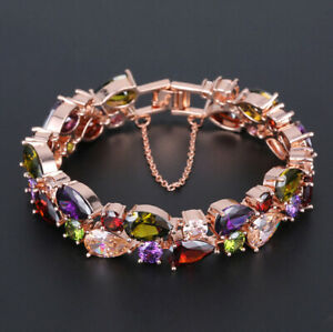 Mona lisa Rose Gold Plated Natural Amethyst Peridot Chaming Women Bracelets