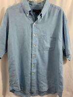 Brooks Brothers Irish Linen Short Sleeve Shirt Blue Men's Size Large