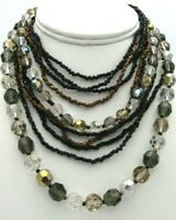 Vintage Smokey Faceted Glass Beads Seed Beads Layered Multi Strand Necklace 16""