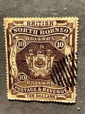 BRITISH COMMONWEALTH-NORTH BORNEO ,COAT OF ARMS 1889 /10 DOLLARS SCARE!!!!
