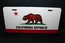 CALIFORNIA STATE FLAG METAL LICENSE PLATE TAG FOR CARS