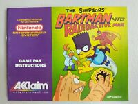 The Simpsons Bartman Meets Radioactive Man NES instruction booklet Only -NO GAME