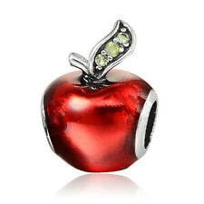 2017New Silver Plated Bead Charm Cute Red Enamel Apple With Crystal Bead Pandora