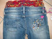 (827) Süße Nolita Pocket Girls Jeans Hose mit Rüschenbund & Nieten Besatz gr.104