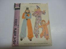 Vintage 1972 McCall's Clown Pattern #3353 Halloween Boy Girl Size 2 Complete