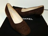 Chanel 37 6.5 M Brown Suede Leather CC Toe Caps Pumps Italy