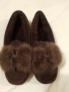 UGG Ansley Puff Bow Bling Suede Sheepskin Slip-on Slipper Shoes UK 8, EU 41 New