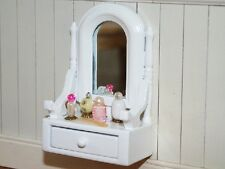 White Dressing Table Set, Dolls House Miniatures, 1.12 Scale Bedroom Furniture