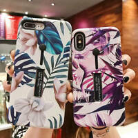 For iPhone XS Max XR 6 7 8 Plus X Marble Flower Ring Holder Stand TPU Case Cover