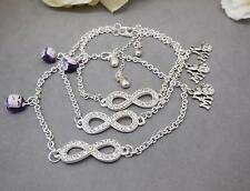 ANKLET, 'I LOVE MY CAT', INFINITY BEAD, CAT CHARMS, SILVER PLATED CHAIN - 7401