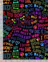 Animal Fabric - I Love My Dog Rainbow Words Black  - Timeless Treasures YARD
