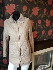 Barbour Beige Quilted Faux  Fur Lined  Jacket  UK 10 VGC   FREE UK PP