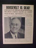 Newspaper Headline ~World War 2 Truman President Roosevelt FDR DEAD WWII 1945
