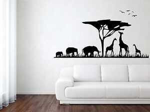 Wandtattoo Aufkleber Afrika Giraffen Elefanten Vögel 5 Gr. inkl. Rakel W187