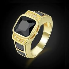 Anniversary Jewelry Size 10 Men 18K Gold Filled Black Sapphire Engagement Rings