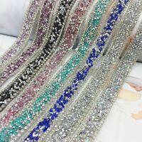 Rhinestone Crystal Trim Edging Ribbon Strap Sewing Dress Bag Bridal Decor DIY 1M