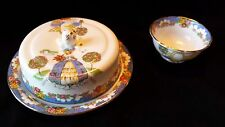 "Vintage Hammersley & Longton ""Ladye Fayre"" Covered Butter Dish and Sugar"