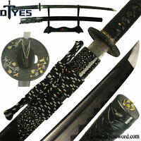 Handmade Katana Damascus Folded Steel Clay Tempered Blade Samurai Sword Sharp