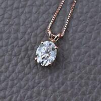 Certified 1.50 Ct Oval Shape VVS1/D Diamond 14K White Gold Solitaire Pendant