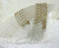 Vintage Kramer Champagne Pearl Clear Faceted Crystal Necklace Earring Set
