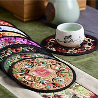 12x Chinese Silk Embroidered Round Cup Mat Pad Beverage Coasters A8J6