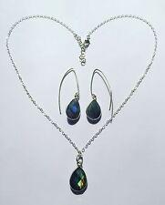 Labradorite Stone Matching Earring-Necklace Jewelry Set Open Hoop Hook Earrings