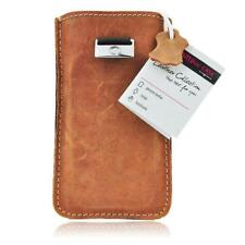 Edle Echtleder Tasche für Apple iPhone 7 Handy Leder Slim Case - Braun Brown