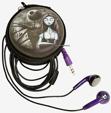 Disney Nightmare before Christmas Jack Sally EARBUDS In-Ear Headphones w/ pouch
