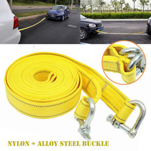 5M Nylon Universal Car SUV Van Tow Rope Hook Heavy Duty Pull Towing Strap 5 Tons