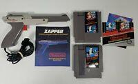 Nintendo NES Grey Zapper Gun w/ Super Mario Bros/Duck Hunt Games and Booklets