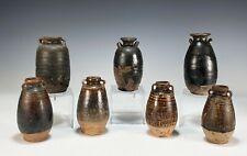 Group of 7 Antique Thai Sawankhalok Brown Glazed Stoneware Jars