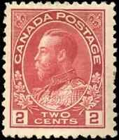 Canada #106 mint VF OG H DG 1917 King George V 2c lighter carmine Admiral