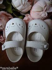 Baby Girls WHITE Patent Mary Janes Pram Shoes,Christening,Sizes 0-3,3-6,6-12mnth