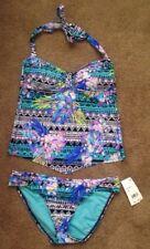 Kenneth Cole Halter Apron Scarf Hem Tankini Swimsuit-Small-NWT-MSRP $122