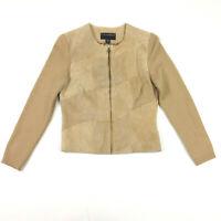 Bernardo Suede & Knit Jacket Womens Petite Medium PM Brown Tan Textured