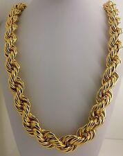"Heavy 15 mm Gold  tone Hollow Thick Rope 36"" Necklace Hip Hop Dookie Chain"