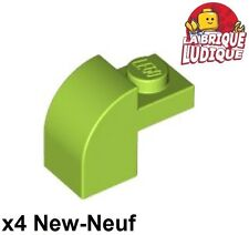 Lego - 4x Brique Brick Modified 1x2x1 x1/3 curved vert citron/lime 6091 NEUF