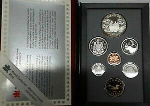 1989 Canada Proof Set 7 Gem Coins in Leather Case Double Dollar Set with COA