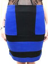 C&M CAMILLA & MARC blue black mini WEST skirt sz 8 stretch
