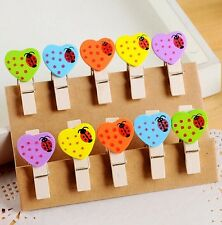 10x Photo Picture Paper Card Cute mini Heart beetle Wooden Hanging clips A82