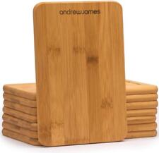 Andrew James Chopping Board Set 8 Bamboo Wooden Boards Each 21cm x 15cm x 1.1cm
