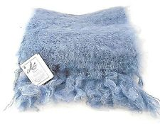 ADELE'S CLASSIC FLUFFY PALE BLUE MOHAIR WOOL SCARF